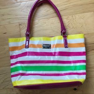 Nine West striped vinyl tote bag